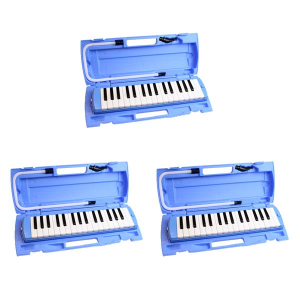 鍵盤ハーモニカ (ブルー) 【3台セットで1,087円お得】 / FunMelo(ファンメロ) 【32鍵盤 / ドレミシール, 名前シール, クリーニングクロス, 1年保証付き, 即日発送】