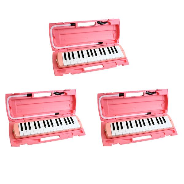 【3台セット】FunMelo(ファンメロ) / 鍵盤ハーモニカ (ピンク) 【ドレミシール, 名前シール, クリーニングクロス, 1年保証付き】