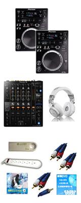 """CDJ-350 / DJM-750MK2 激安定番オススメBセット ■限定セット内容■ 【 DJ機材 虎の巻_販促バナー  ミックスCD作成KIT  OAタップ  金メッキ高級接続ケーブル 3M 1ペア  セッティングマニュアル  エレクトロハウス音ネタ  教則DVD  LaCie 鍵型USBメモリ4GB  HD-1200 ヘッドホン  DJ必需CD 計""""5枚""""】"""