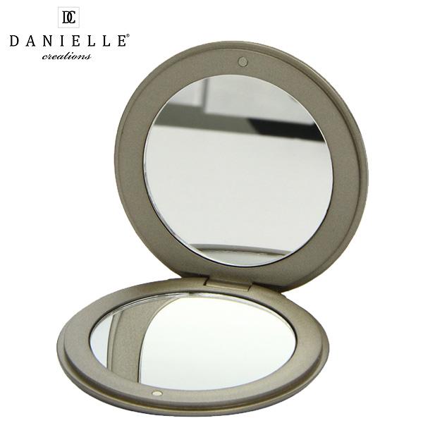Danielle(ダニエル) / 0758 (ピューターグレー&スワロフスキーエレメント) 《拡大鏡》 [鏡面 直径8.5cm] 【5倍率/等倍率】 -コンパクトミラー-