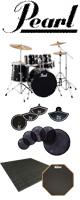 【自宅練習用セット】Pearl(パール) / ROADSHOW RS525SCW/C #31(ジェットブラック)【入門用 エントリーモデル】- ドラムセット -