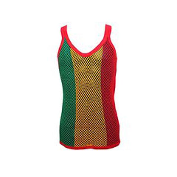 メッシュタンクトップ / 網シャツ (Red/Gold/Green Stripes) - Men's -