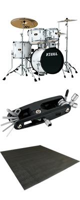 """【ドラムマット付き】TAMA(タマ) / IP58H6HC-SGW (シュガー・ホワイト)  【2018 IMPERIALSTAR 18""""バスドラムキット】- ドラムセット - 5大特典セット"""