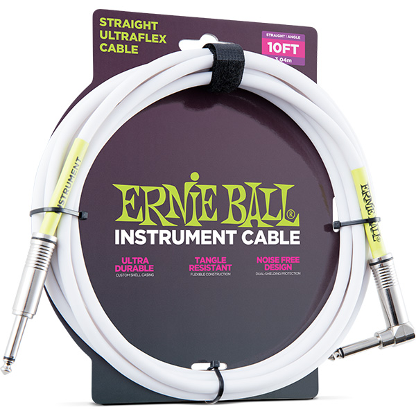 ERNIE BALL(アーニーボール)/6049 10' STRAIGHT/ANGLE INSTRUMENT CABLE - WHITE/エレキギター用ケーブル