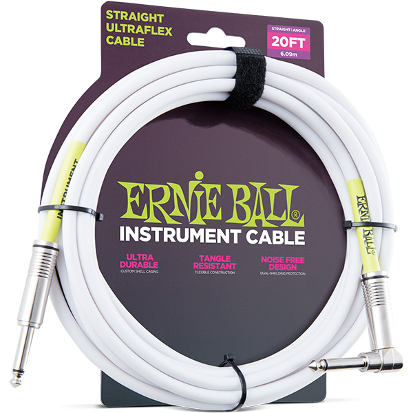 ERNIE BALL(アーニーボール)/6047 20' STRAIGHT/ANGLE INSTRUMENT CABLE - WHITE/エレキギター用ケーブル