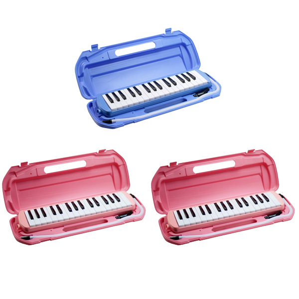 鍵盤ハーモニカ (ブルー/ピンク 取り混ぜ) 【3台セットで1,087円お得】/ FunMelo(ファンメロ) 【32鍵盤 / ドレミシール, 名前シール, クリーニングクロス, 1年保証付き, 即日発送】(※希望カラー・数量はプルダウンより選択ください)
