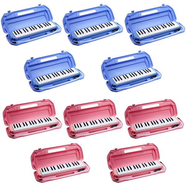 鍵盤ハーモニカ (ブルー/ピンク 取り混ぜ) 【10台セットで5,244円お得】/ FunMelo(ファンメロ) 【32鍵盤 / ドレミシール, 名前シール, クリーニングクロス, 1年保証付き, 即日発送】(※希望カラー・数量はプルダウンより選択ください)