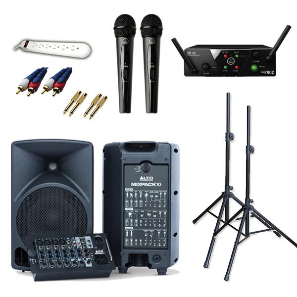 【ワイヤレスマイク2本簡易PA_Aセット】 ALTO MIXPACK 10 / WMS40 PRO MINI2 VOCAL SET DUAL   《講演 ・イベントに最適》 4大特典セット