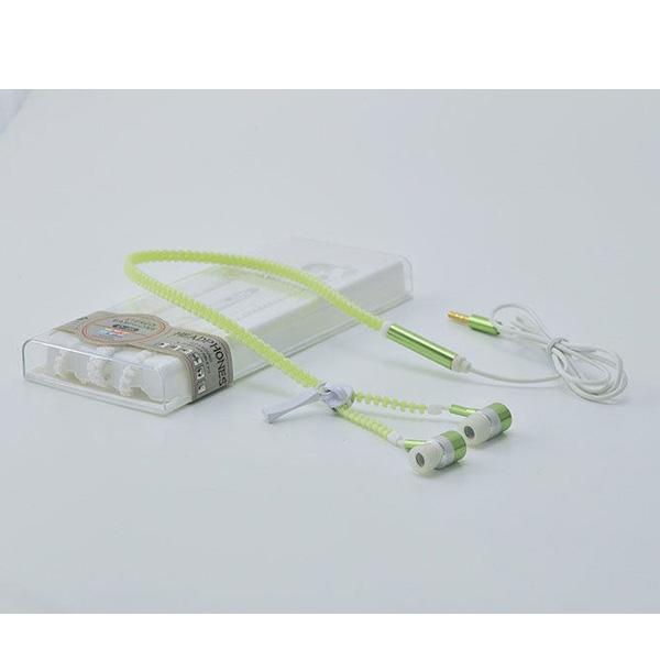AINGSLIM / Metal Zipper Glow Earphones (GREEN) - 光るイヤホン -