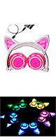 SOVAWIN / 光るネコ耳ヘッドホン (充電式折りたたみタイプ)PINK