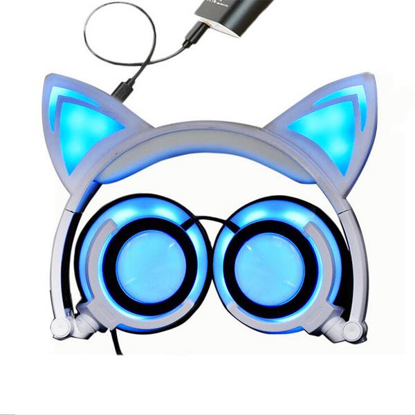 SOVAWIN / 光るネコ耳ヘッドホン (充電式折りたたみタイプ)WHITE