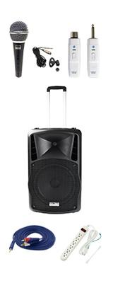 【電源不要ワイヤレスマイクセット】 DJ-Tech (ディージェーテック) / FPX-G12BTE - 充電式 簡易PAシステム - 2大特典セット
