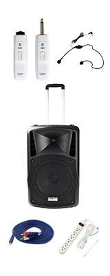 【電源不要ワイヤレスヘッドセットセット】 DJ-Tech (ディージェーテック) / FPX-G12BTE - 充電式 簡易PAシステム - 2大特典セット
