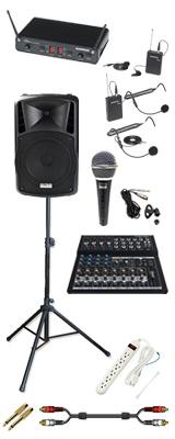 【本格PA 2chワイヤレスアクセサリーBセット】 DJ-Tech (ディージェーテック) / FPX-G12BTE - 充電式 簡易PAシステム - 2大特典セット