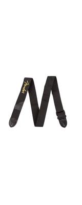 FENDER(フェンダー) / BLACK POLYESTER LOGO STRAPS (Black with Yellow Logo) ギターストラップ
