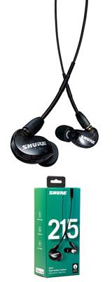 Shure(シュアー) / SE215-K-UNI-A ブラック カナル型 高遮音性 リモコン・マイク付きイヤホン 【UNIケーブル付属】 1大特典セット