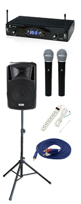 【ワイヤレスマイク2本シンプルセット】 DJ-Tech (ディージェーテック) / FPX-G12BTE - 充電式 簡易PAシステム - 2大特典セット