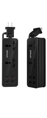 UPWADE(アップウェイド) / Outlet Travel Power Strip Surge Protector(ブラック) 4つのスマートUSB充電ステーション 高速充電