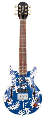 Woodstics / Woodstics Guitars WS-MINI ALOHA (BLUE & WHITE ALOHA) - アンプ内蔵 ミニエレキギター - 【横山 健 モデル】