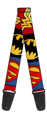 Buckle Down(バックルダウン) / Justice League Superhero Textured Logo CLOSE-UP Blocks 【MARVEL マーベル公式ライセンス品】 ギターストラップ