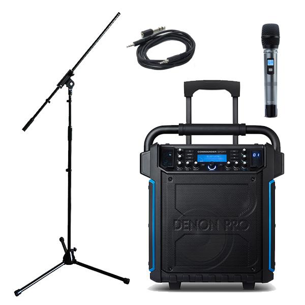 【マイクスタンドセット】 Denon(デノン) / Commander Sport -ワイヤレスマイク付き ポータブルPAシステム - 【 防滴IPX4 Bluetooth対応 充電池内蔵 】
