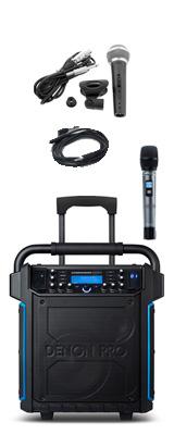 【有線マイクセット】 Denon(デノン) / Commander Sport -ワイヤレスマイク付き ポータブルPAシステム - 【 防滴IPX4 Bluetooth対応 充電池内蔵 】 2大特典セット