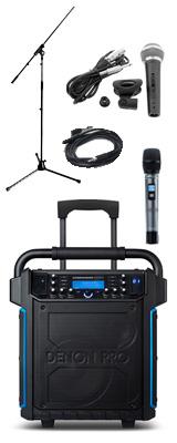 【有線マイク・スタンドセット】 Denon(デノン) / Commander Sport -ワイヤレスマイク付き ポータブルPAシステム - 【 防滴IPX4 Bluetooth対応 充電池内蔵 】 2大特典セット