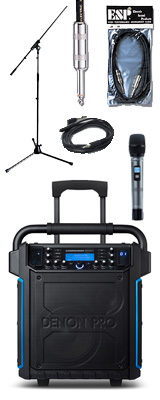 【ストリート・弾き語りセット】 Denon(デノン) / Commander Sport -ワイヤレスマイク付き ポータブルPAシステム - 【 防滴IPX4 Bluetooth対応 充電池内蔵 】 2大特典セット