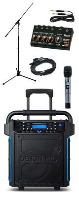 【入力チャンネル増加セット】 Denon(デノン) / Commander Sport -ワイヤレスマイク付き ポータブルPAシステム - 【 防滴IPX4 Bluetooth対応 充電池内蔵 】 2大特典セット