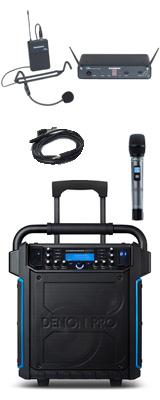 【ヘッドセット追加セット】 Denon(デノン) / Commander Sport -ワイヤレスマイク付き ポータブルPAシステム - 【 防滴IPX4 Bluetooth対応 充電池内蔵 】 2大特典セット