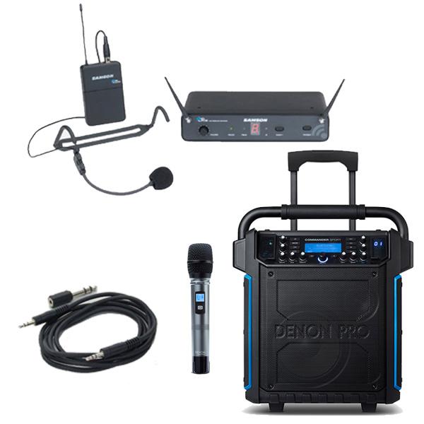【ヘッドセット追加セット】 Denon(デノン) / Commander Sport -ワイヤレスマイク付き ポータブルPAシステム - 【 防滴IPX4 Bluetooth対応 充電池内蔵 】