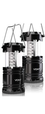 【2個セット】 Vont / 2 Pack LED Camping Lantern - LED 折りたためる ランタン 防水仕様 電池式 -