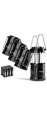 【4個セット】 Vont / 4 Pack LED Camping Lantern - LED 折りたためる ランタン 防水仕様 電池式 - 電池付