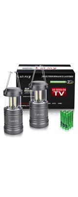 【2個セット】 Letmy / 2 Pack Camping Lantern - COBテクノロジー LED 折りたためる ランタン 電池式 IPX5防水 取り外し可能ハンドル -