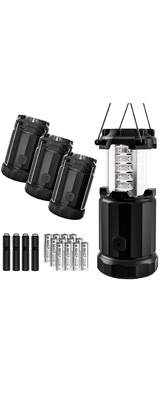 【4個セット】 Etekcity / 4 Pack Portable Outdoor LED Camping Lantern - LED 折りたためる ランタン 電池式 防水 ファイヤースターター付 -