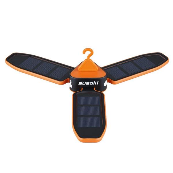 SUAOKI / Collapsible Clover Style (orange) - ソーラー USB 充電式 ランタン -