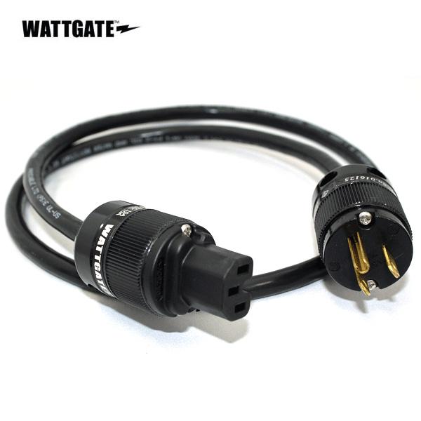 シールド電源ケーブル(WATTGATE) 両端、米国製非メッキプラグ 黒色プラグ 1.0m 【3ピンから2ピンへの変換コネクター付属】