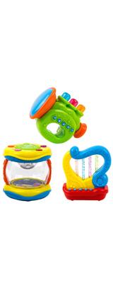 Toysery / キッズ用楽器3セット -  ドラム/ハープ/トランペット -