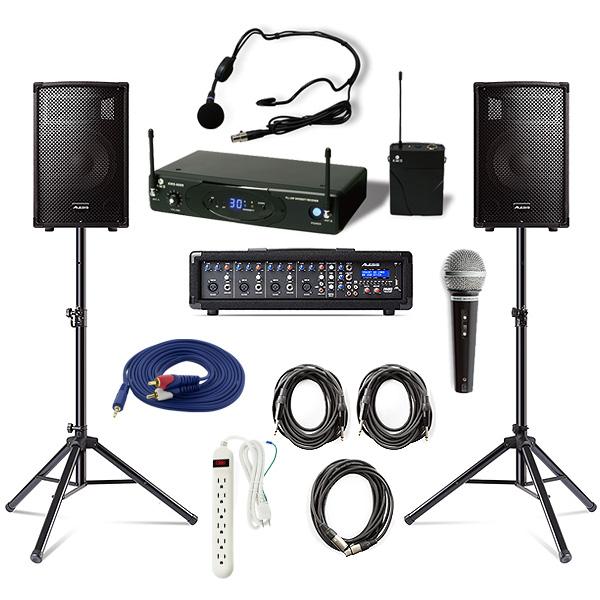 【ワイヤレスヘッドセットPAセット】 Alesis(アレシス) / PA SYSTEM IN A BOX BUNDLE 【AL-SRI-011】 / KWS-899P/HM-38 《講演 ・イベントに最適》