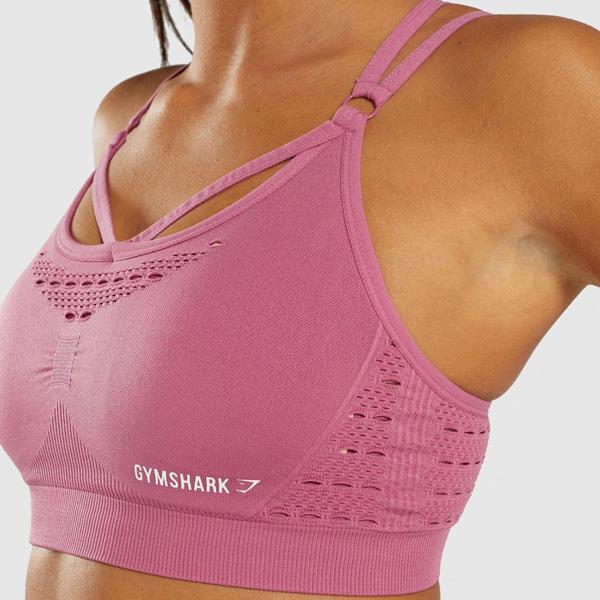 Gymshark(ジムシャーク) / Energy+ Seamless Sports bra (DUSKY PINK Mサイズ) - スポーツブラジャー ジム ヨガ ダンス ワークアウト - 《芸能人愛用》