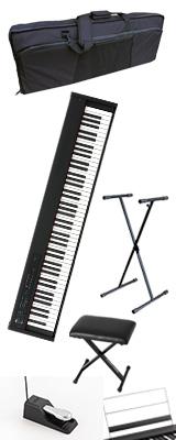 【撥水バッグ&X型スタンド&イスセット】 Korg(コルグ) / D1 スピーカーレス デジタルピアノ 「譜面立て・ダンパーペダル・ヘッドホン付き」 〜数量限定ワイヤレスヘッドホン付き〜 2大特典セット