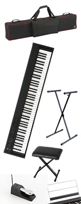 【専用バッグ&X型スタンド&イスセット】 Korg(コルグ) / D1 スピーカーレス デジタルピアノ 「譜面立て・ダンパーペダル・ヘッドホン付き」 〜数量限定ワイヤレスヘッドホン付き〜 2大特典セット