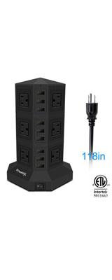 Powerjc / タワー式 電源タップ 縦型コンセント 12+9(AC差込口+USBポート) 10A 入力100V-240V 約3M USB急速充電器 一括スイッチ付 3層 ブラック
