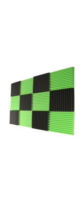 Mybecca / Acoustic Panels Studio Foam Charcoal / Green lime (30.5×30.5 x 2.5cm) 12個パック - 吸音材 -