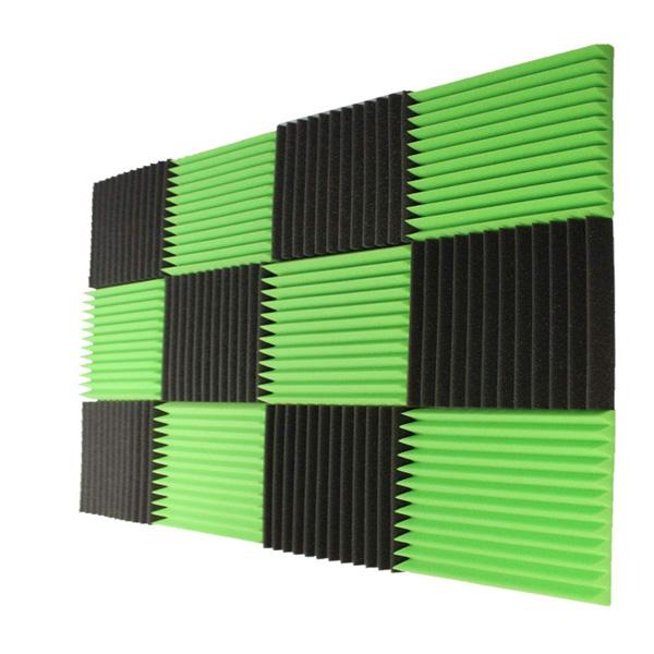 Mybecca / Acoustic Panels Studio Foam Charcoal / Green lime (30.5×30.5 x 2.5cm) 12個パック - 吸音材 -