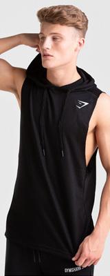 Gymshark(ジムシャーク) / DROP ARM SLEEVELESS HOODIE(black Lサイズ) - フード付パーカー 袖なし ジム ワークアウト - 《芸能人愛用》