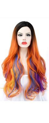 SEIKEA / Long Orange With Colorful Highlight Hair Wig レディース ウィッグ かつら グラデーション オレンジ 【コスプレ ハロウィン】