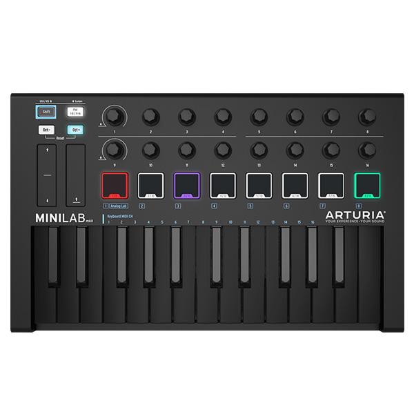 ■ご予約受付■ Arturia(アートリア) / MINILAB MK2 (DEEP BLACK / 数量限定モデル) MIDIコントローラー 【Analog Lab Lite / Ableton Live Lite / UVI Grand Piano Model D バンドル】【6月2日発売】 1大特典セット