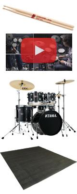 【マット付セット】 TAMA(タマ) / IMPERIALSTAR(インペリアルスター) [IE58H6HC-HBK(ヘアライン・ブラック)] - 18インチバスドラムセット - 3大特典セット
