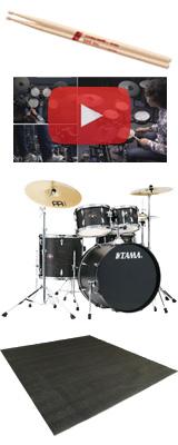 【ドラムマット付き】 TAMA(タマ) / IMPERIALSTAR(インペリアルスター) [IE52KH6HC-BOW(ブラック・オーク・ラップ)] - 22インチバスドラムセット - 4大特典セット